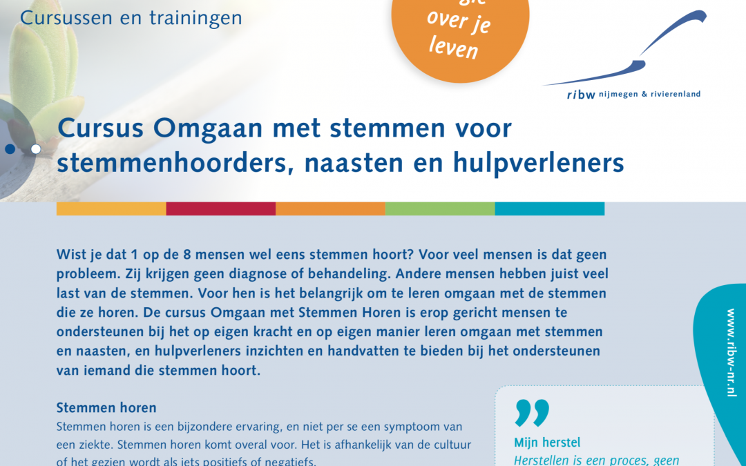 Nieuwe cursus 'Omgaan met Stemmen Horen' start op 24 januari
