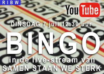 Bingo in de samen staan we sterk stream (7 juli, 12.30 uur)