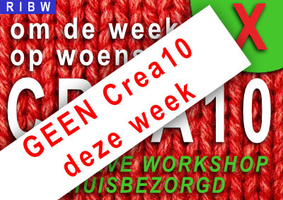 GEEN CREA10 workshop deze week…