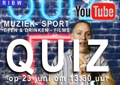 De RIBW QUIZ over Muziek, Sport, Eten & drinken en Films op YouTube (dinsdag 23 juni)