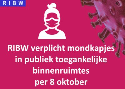 RIBW verplicht mondkapjes in publiek toegankelijke binnenruimtes per 8 oktober